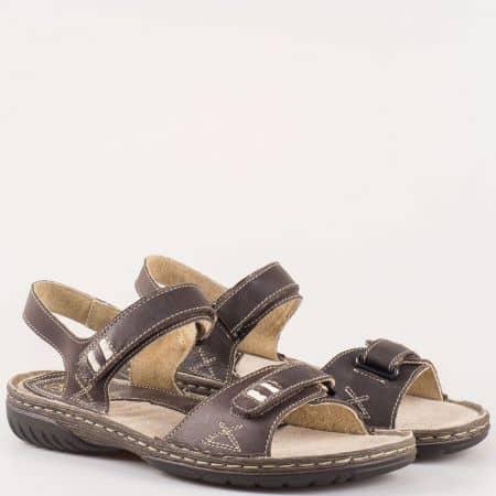 Шити дамски сандали с две лепки от естествена кожа в тъмно кафяв цвят- GLAMOURELLA  90020kk