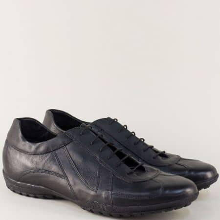 Черни мъжки обувки с връзки от естествена кожа 9002302ch