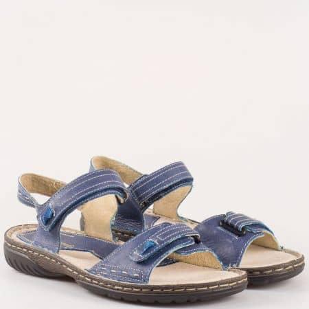 Дамски комфортни сандали с велкро закопчаване изработени от изцяло естествени материали - кожа и велур на български производител в син цвят 9012s