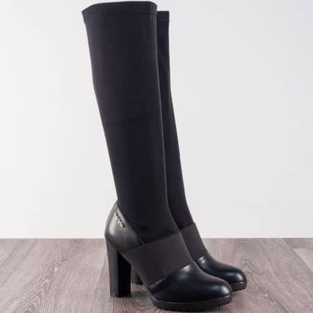 Черни дамски ботуши на висок модерен ток  903194ch