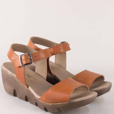 Кафяви дамски сандали от естествена кожа на платформа 9043k