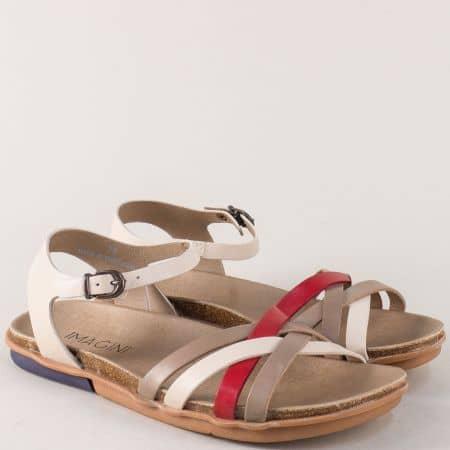 Португалски дамски сандали в червено и бежово  9049bj