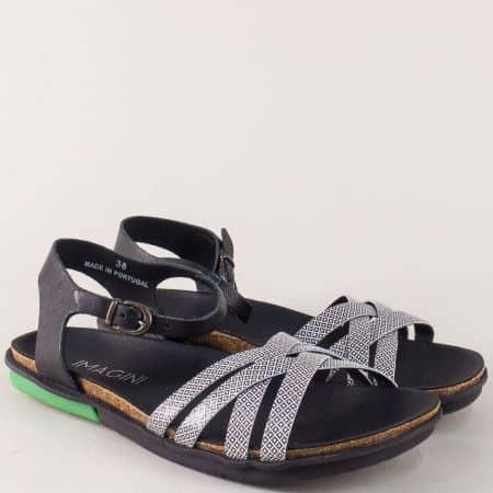 Равни дамски сандали от естествена кожа черно и бяло 9049ch