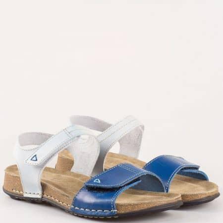 Равни дамски сандали в бяло и синьо 9052s