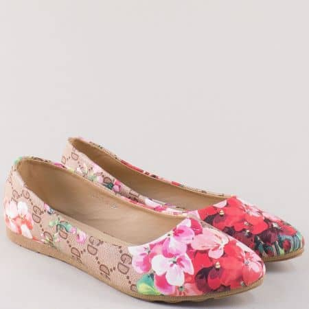 Равни дамски обувки в розово, червено, зелено и бежово 9074bj