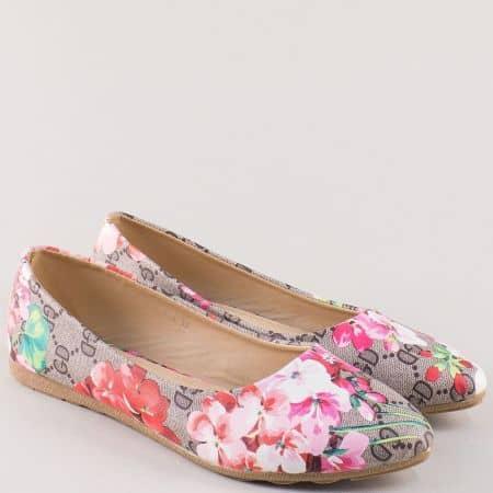 Пъстри дамски обувки, тип балерини с кожена стелка 9074sv