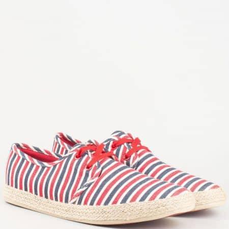 Актуални мъжки обувки в бяло, червено и синьо, тип еспадрила с връзки 910chv