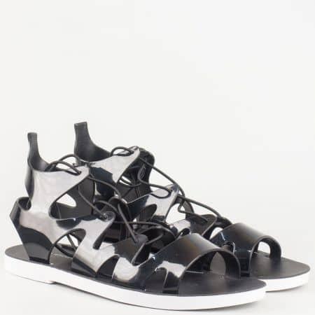Черни дамски сандали с връзки на равно ходило 9127ch