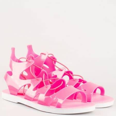 Равни дамски сандали от силикон в циклама 9127ck