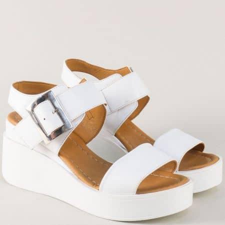 Дамски сандали на платформа от бяла естествена кожа 9191b