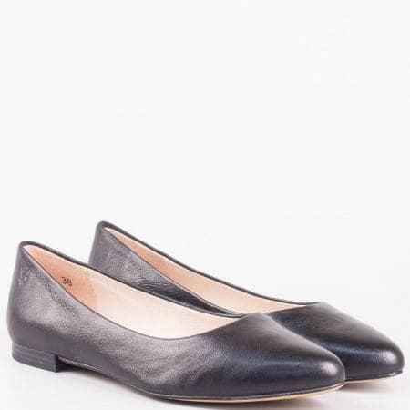 Немски равни обувки, тип балеринки от естествена кожа в  черно 922107ch