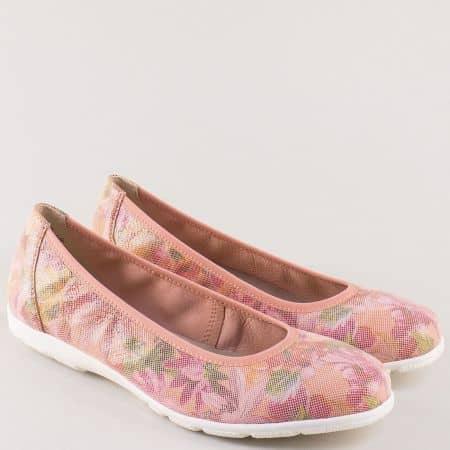 Розови дамски обувки от естествена кожа на равно ходило 922150rz