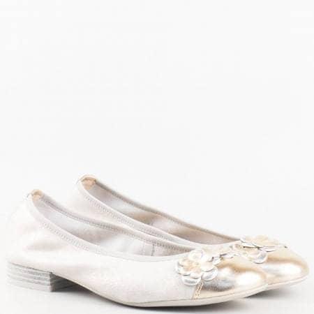 Дамски комфортни обувки, тип балерина, от висококачествена естествена кожа на немския производител Caprice в сребърно и златно 922162sr