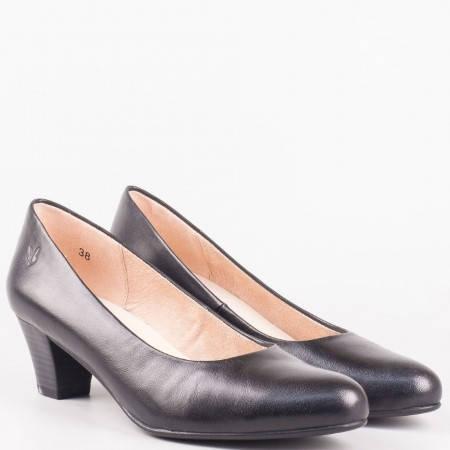 Елегантни дамски обувки на среден ток от черна естествена кожа- Caprice 922306ch