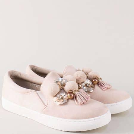 Дамски обувки в розов цвят на равно комфортно ходило 9243bj