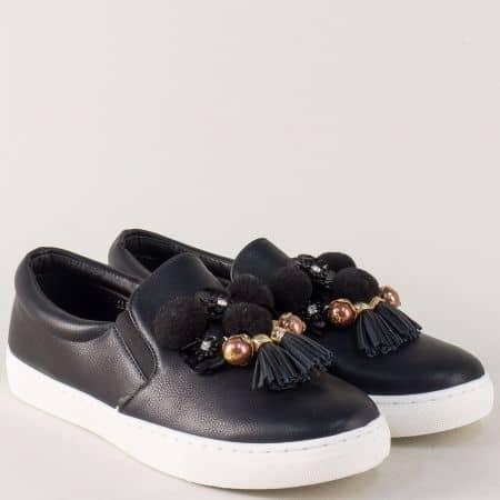 Черни спортни обувки на равно ходило  9243ch
