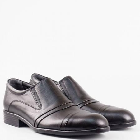 Мъжка официална обувка от 100% естествена кожа с ластици в черен цвят 924ch