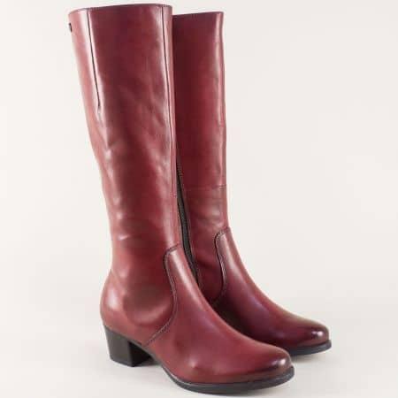 Дамски ботуши от естествена кожа в цвят бордо на среден ток 925539bd