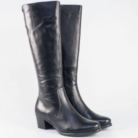 Кожени дамски ботуши за слаб крак на среден ток- Caprice в черен цвят  925539ch