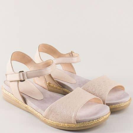 Равни дамски сандали с лепка от бежова естествена кожа 928104bj