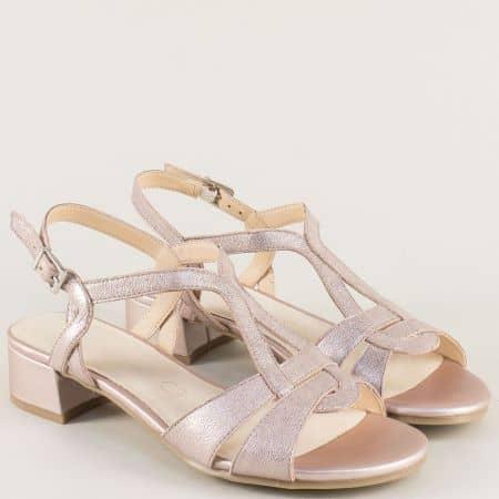 Розови дамски сандали от естествена кожа на нисък ток 928201rz