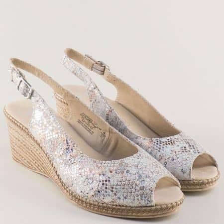 Сиви дамски сандали Caprice от естествена кожа на клин ходило 928350zsv
