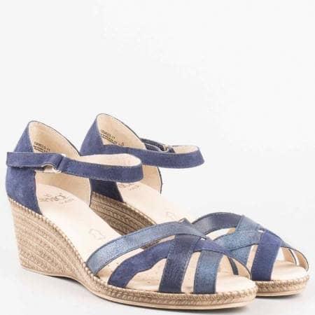 Сини дамски сандали Caprice със затворена пета 928351s