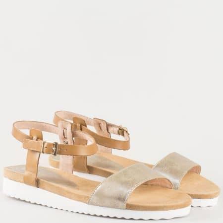Дамски ежедневни сандали произведени от висококачествена естествена и еко кожа с каишка и ластик на немския производител Caprice в кафяво 928601k