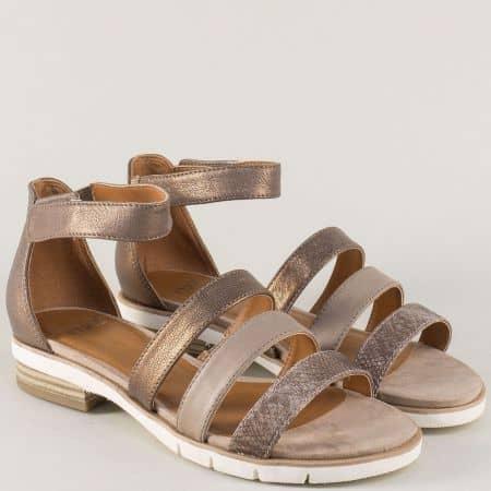 Кожени дамски сандали в кафяво, злато и сиво- Caprice 928602k
