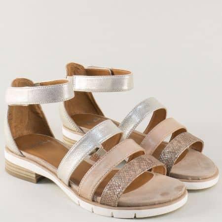 Дамски сандали на нисък ток в бежово, сребро и злато 928602zl
