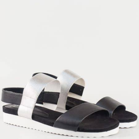 Дамски младежки сандали на комфортно ходило с ластик в черно и сиво 928603ch