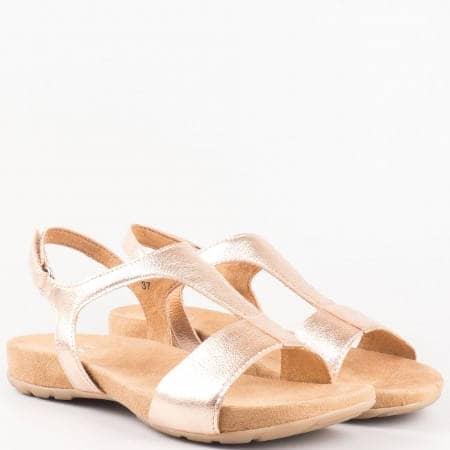 Дамски комфортни сандали с лепка от естествен лак в златно- Caprice   928604zl