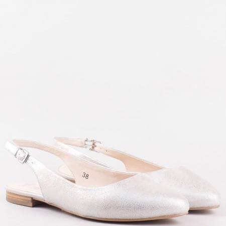 Дамски стилни обувки с отворена пета и кожена стелка на немския производител Caprice в сребърно 929402sr