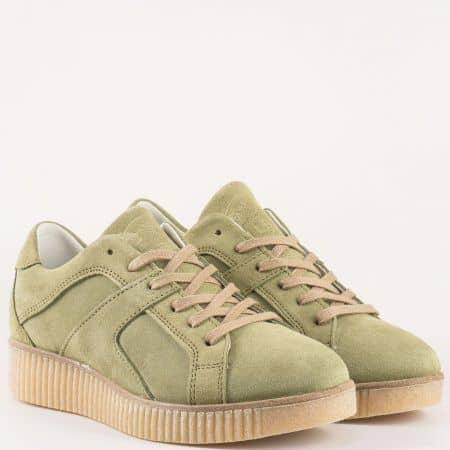 Зелени дамски обувки на платформа с връзки от естествен велур и каучук на холандският производител- Bullboxer   932000vz