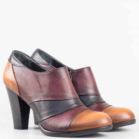 Дамски ежедневни обувки в цветова комбинация от естествена кожа на висок ток 932ps