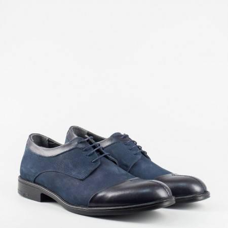 Мъжки обувки в  от естествена кожа и естествен набук в син цвят 933s