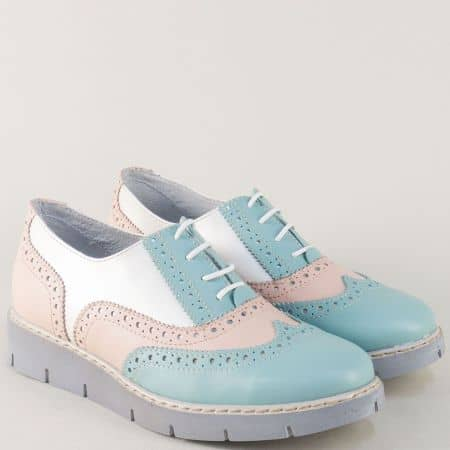 Кожени дамски обувки с връзки в бяло, синьо и розово 94126ps