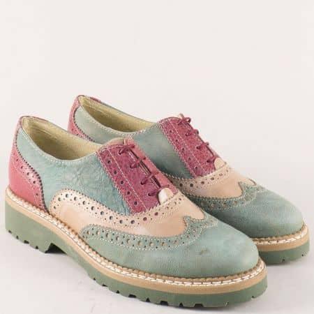Пъстри дамски обувки с връзки от естествена кожа 9412ps