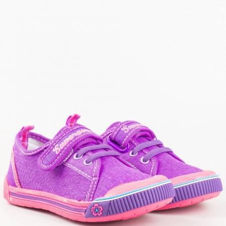 Детски ежедневни кецове с връзки и удобна лепка Athletic в лилав цвят 9468-30l