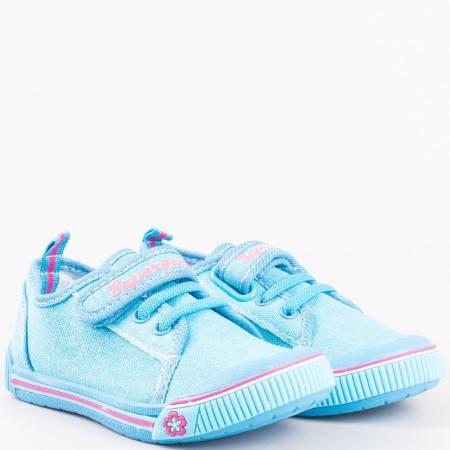 Детски кецове с връзки и лепка Athletic в актуален син цвят 9468-30s