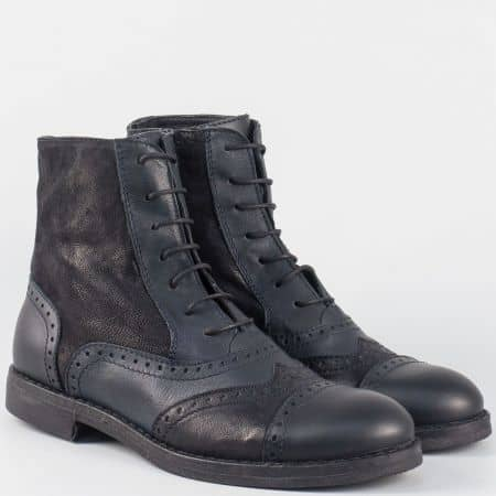Дамски български боти на нисък ток- Navvi от черна естествена кожа 9482chs