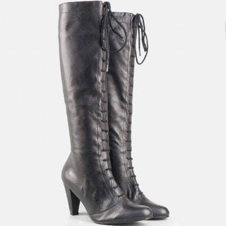 Дамски удобни ботуши изработени от висококачествена естествена кожа на български производител в черен цвят 9501414ch