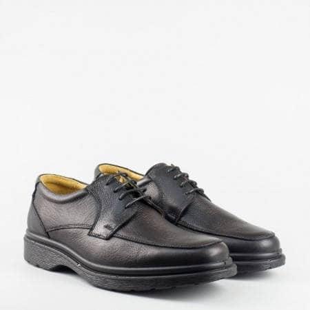 Изчистен модел черни ежедневни мъжки обувки с връзки от естествена кожа 950ch