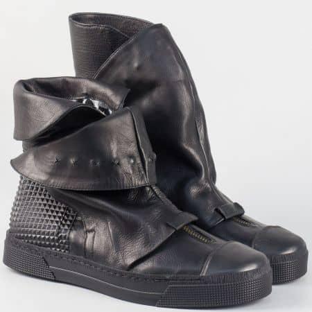 Дамски високи, кожени кецове на равно, шито ходило- Navvi в черен цвят 96271ch