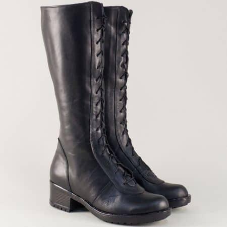 Черни дамски ботуши от естествена кожа на нисък ток 966658ch