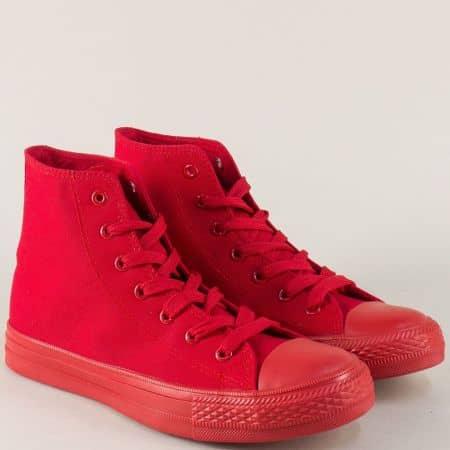Дамски кецове в наситен червен цвят на равно ходило 96902chv