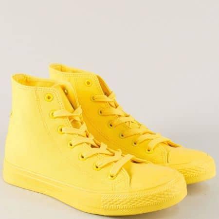 Дамски кецове в жълто на комфортно ходило с връзки 96902j