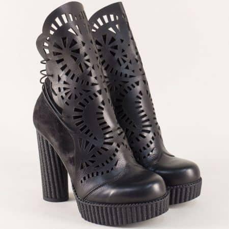 Черни дамски боти на висок ток от естествен велур и кожа 9692ch