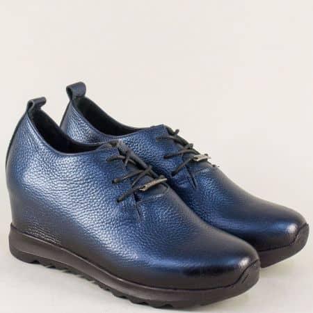 Кожени дамски обувки от естествена кожа на платформа в синьо 97100s