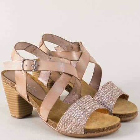 Дамски сандали на висок ток от бежова естествена кожа 9826bj